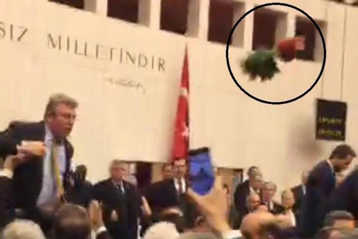 Anayasa değişikliği görüşmelerinde olay görüntü: Meclis'te uçan saksı!