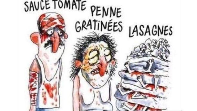 Charlie Hebdo depremde ölenleri makarnaya benzetti