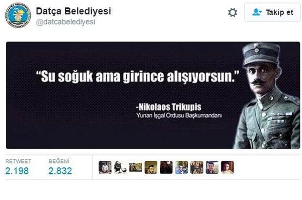 İzmir'in kurtuluş yıl dönümü için atılan tweet tartışma yarattı