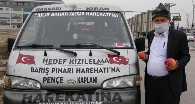 'Elmacı Dede' Mehmetçik için bin 614 kilometre yol kat etti