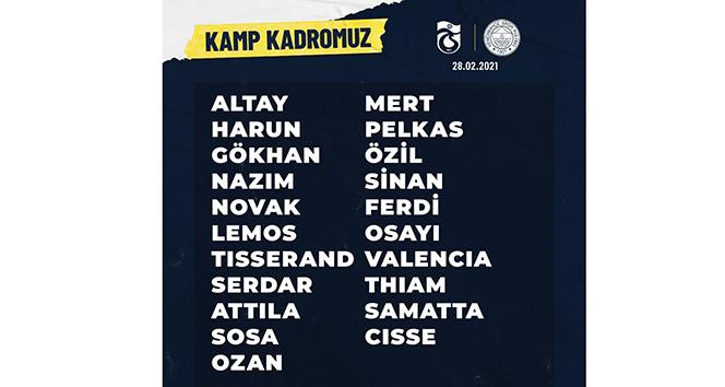 Fenerbahçe'de Trabzonspor maçının kamp kadrosu açıklandı