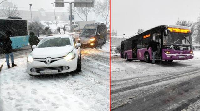 İstanbul'da Kar Yağışı Bir Anda Bastırdı! Hazırlıksız Yakalananlar Yolda Kaldı