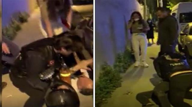 Kız Arkadaşına Şiddet Uygulayan Adamı Motorcular Engelledi