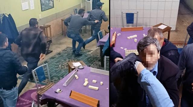 Pencereden Kaçmaya Çalışan Kumarcılar Polislerle Burun Buruna Geldi