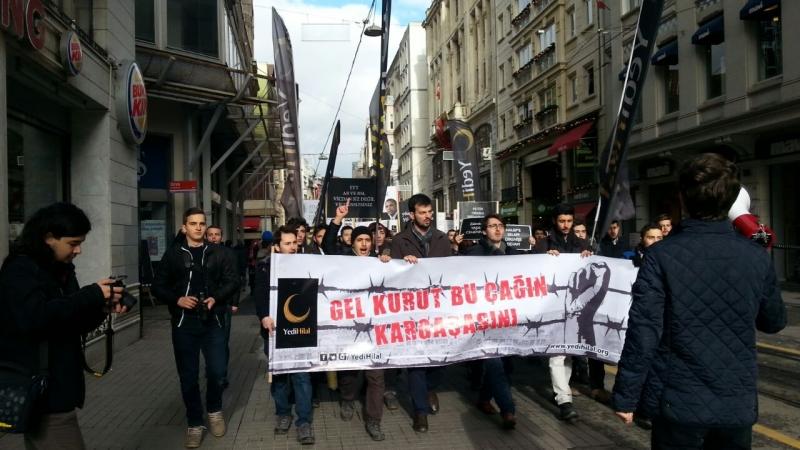 Taksim'de Rusya'ya 'Dur' eylemi