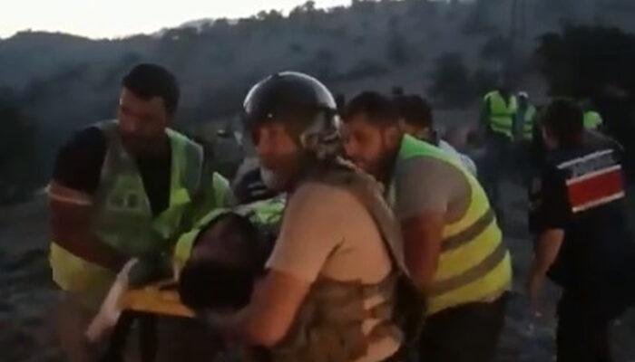 Üzerine yanan ağaç düşen orman görevlisi helikopterle hastaneye kaldırıldı