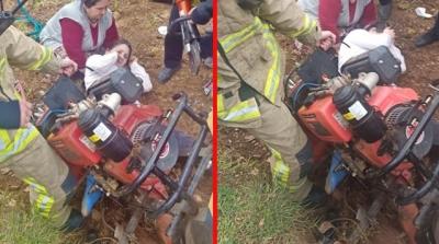 Ayaklarını Çapa Motoruna Kaptıran Genç Kadın Hastaneye Kaldırıldı