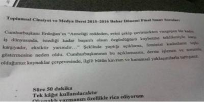 Erdoğan'ın 'Anneliği reddeden kadın yarımdır' sözleri sınav sorusu oldu