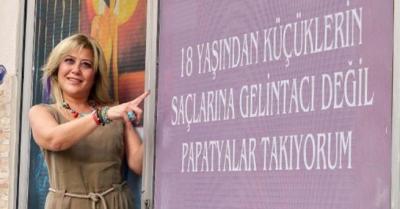 Kadın kuaförünün 'çocuk gelin' protestosu