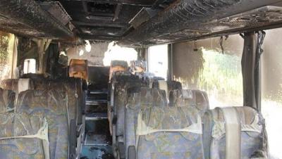 Öğrencileri taşıyan otobüste yangın