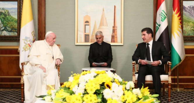 Papa Francis Erbil'de IKBY yetkilileri ile görüştü