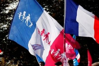 Paris'te eşcinsel evlilik yasasına protesto!