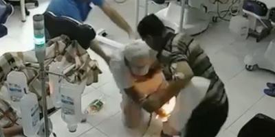 Tartıştığı kişiyi benzinle yaktı